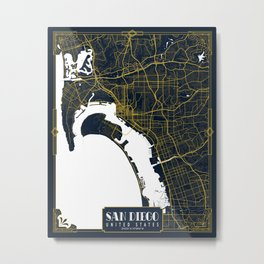 San Diego City Map of the United States - Gold Art Deco Metal Print