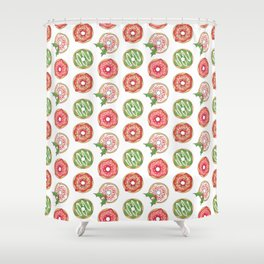 Christmas Donuts Red and Green Pattern Shower Curtain