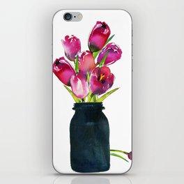 Red Tulips in Mason Jar iPhone Skin