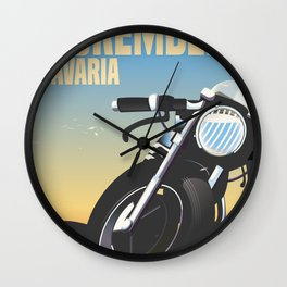 Nuremberg Bavaria Motorcycle travel poster Wall Clock