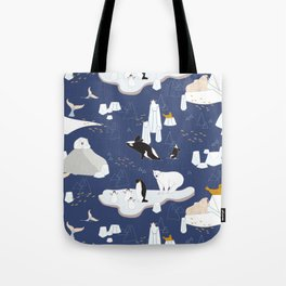 Arctic animals floating on icebergs Tote Bag