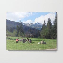 A farm in the mountains Metal Print