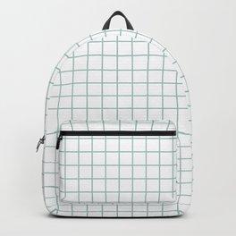 Minimalist Window Pane Grid, Sea Foam on White Backpack
