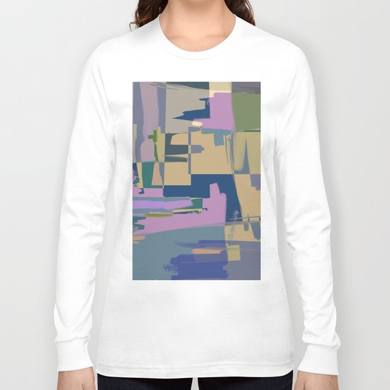 Pale Existence - Abstract, pastel purple, blue, mustard and green painting Long Sleeve T-shirt