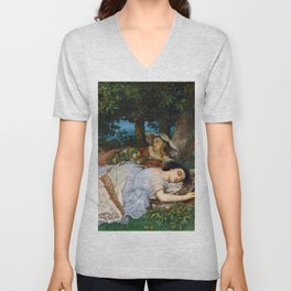"""Gustave Courbet """"Young Ladies on the Bank of the Seine"""" Unisex V-Neck"""