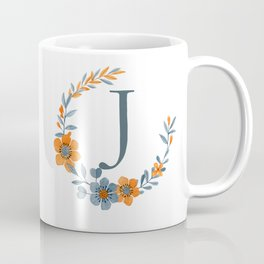 Monogram J Orange Autumn Floral Wreath Coffee Mug