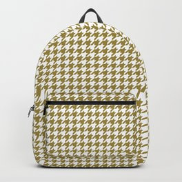 Classic Houndstooth Pattern in Dark Gold / Bronze and White Backpack