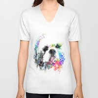 shih tzu V-neck T-shirts featuring Shih TZU  by PhotosbySN
