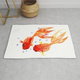 Goldfish Nursery Illustration Feng Shui Two Fish Art Rug