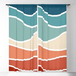 Colorful retro style waves Blackout Curtain
