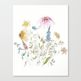 wild flowers and blue bird _ink and watercolor 1 Canvas Print
