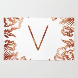 Letter V - Faux Rose Gold Glitter Flowers Rug