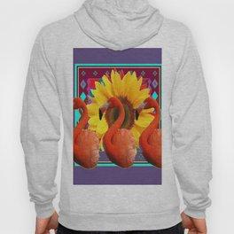 THREE SAFFRON FLAMINGOS YELLOW FLOWER PURPLE ART DECO Hoody