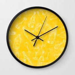 Bottles&Glasses Yellow Wall Clock