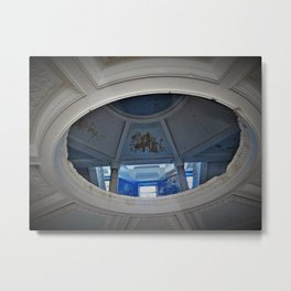 Lost in Another Time - abandoned hotel photo with blue and white Metal Print
