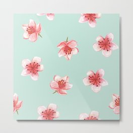 Pink Cherry Blossoms On Pastel Robin's Egg Blue Continuos Pattern Metal Print