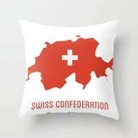 switzerland Throw Pillows featuring Switzerland by ptrlng