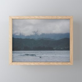 Lone Surfer - Hanalei Bay - Kauai, Hawaii Framed Mini Art Print