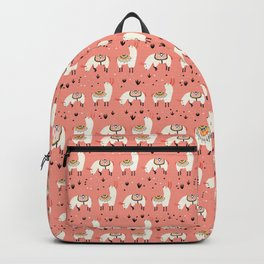 White Llamas in a pink desert Backpack