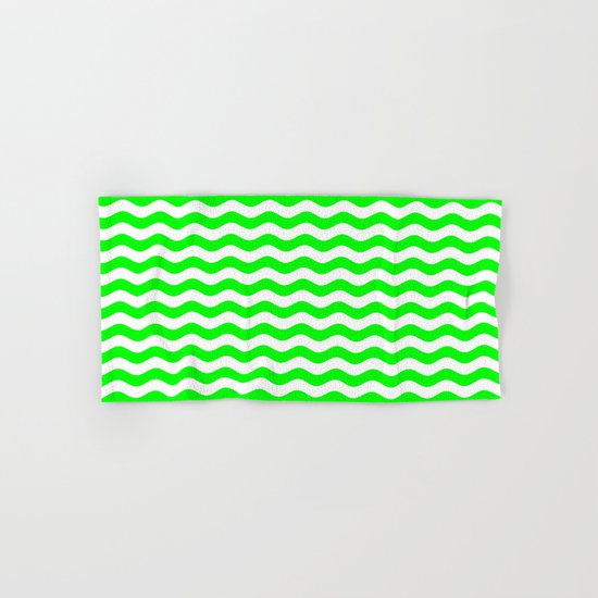 Wavy Stripes (Green/White) Hand & Bath Towel