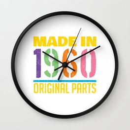 """Colorful 60's Design A Colorful 60's Design Saying """"Made In 1960 Original Parts"""" T-shirt Old Fashion Wall Clock"""