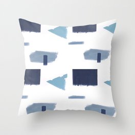 White and blue art print Throw Pillow