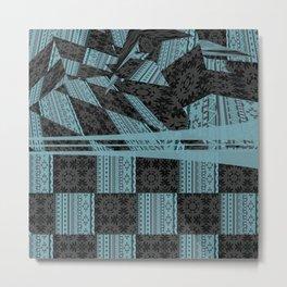 2in1 Pattern Mix, George,aqua Metal Print