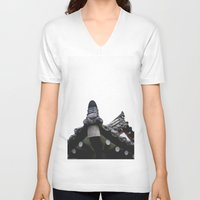 korean V-neck T-shirts featuring Traditional Korean House by serlaluz