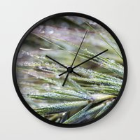 weed Wall Clocks featuring dewy weed by Bonnie Jakobsen-Martin