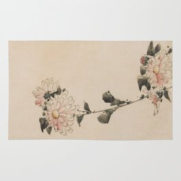 Pastel Pink Flower Blossoms on Long Stalk, Japanese painting Rug