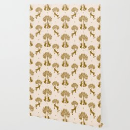 Magical Jungle Dream / Gold and Cream Wallpaper