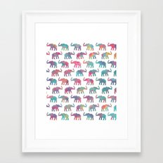 Elephants on Parade in Watercolor Framed Art Print