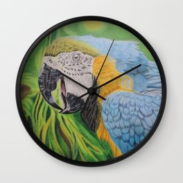 Macaw in the Jungle Wall Clock