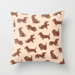 Cartoon happy dachshund - simple trendy pattern with dogs. Throw Pillow