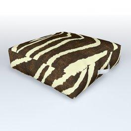 Animal Print Zebra in Winter Brown and Beige Outdoor Floor Cushion