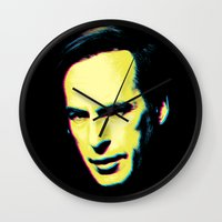 "better call saul Wall Clocks featuring Breaking Bad ""Better Call Saul"" by Steal This Art"