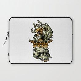 Deathly Lion -  Lion on Dead Skull Laptop Sleeve