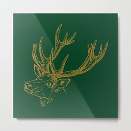 Deer Green Gold Metal Print