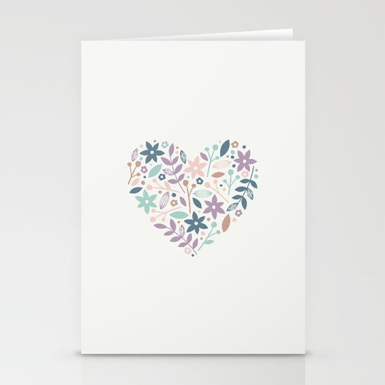 Floral Heart - in Cream Stationery Cards