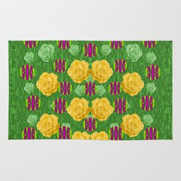 roses dancing on a tulip field of festive colors Rug