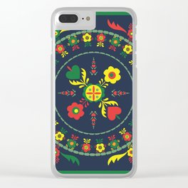 Folk Flowers with Green  Border Clear iPhone Case