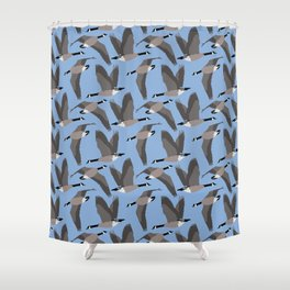 Canada Geese Flying in Blue Shower Curtain