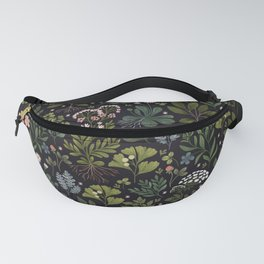 Herbarium ~ vintage inspired botanical art print ~ black Fanny Pack