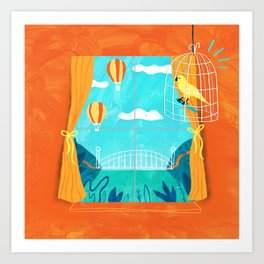 The sight of bridges and balloons makes calm canaries irritable  Art Print