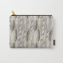 Beautiful graphic bird feathers black white Carry-All Pouch