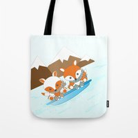 skiing Tote Bags featuring Skiing by HK Chik