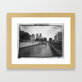 Notre Dame and the Seine River, Black and White Framed Art Print