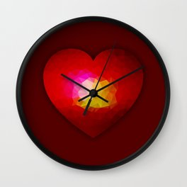 Red geometric burning heart Wall Clock