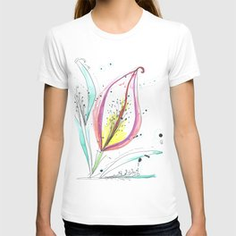 Ink and color flower T-shirt