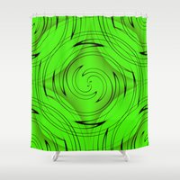 lime green Shower Curtains featuring Lime Green by Sartoris ART